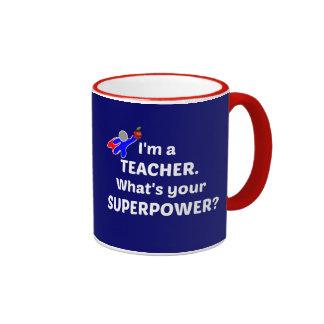 Teacher Superhero - White Text Ringer Mug