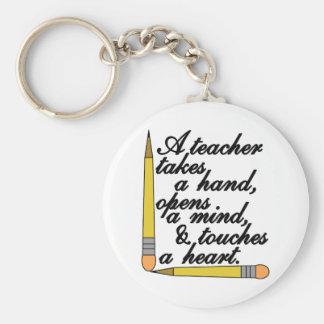 Teacher Takes Basic Round Button Key Ring