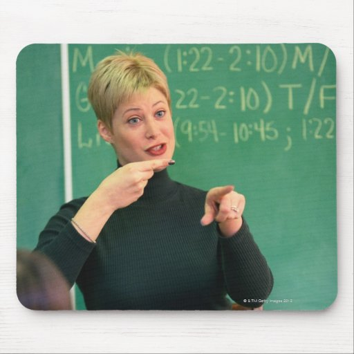 Teacher talking and pointing at front of mousepad