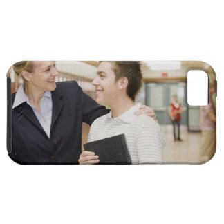 Teacher talking to student, hand on his shoulder iPhone 5 case