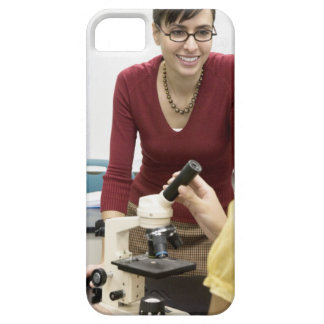 Teacher talking to student in laboratory barely there iPhone 5 case