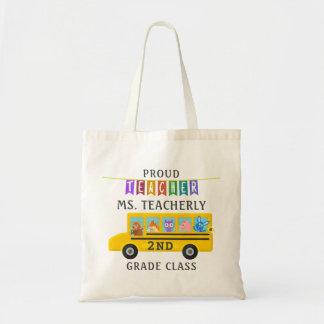 Teacher Thank You Custom Name | Cute Animals Bus Tote Bag