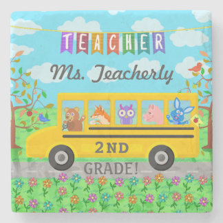 Teacher Thank You Custom Name | Cute Bus Animals Stone Coaster
