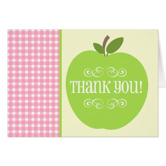 Teacher Thank You Green Apple Pink Gingham Card