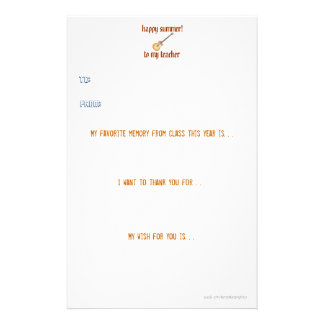 Teacher thank you note stationery