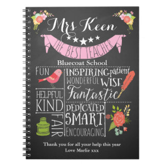 Teacher Thank you notebook word art chalkboard