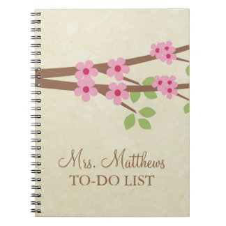 Teacher To Do List Notebook - Cherry Blossoms