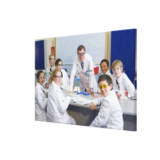 Teacher with his science class, all pupils gallery wrapped canvas