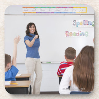 Teacher with students coaster