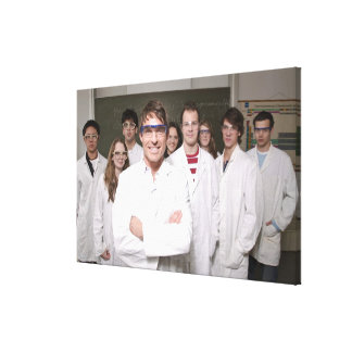 Teacher with students in science class canvas print