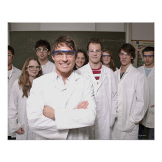 Teacher with students in science class poster