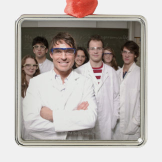 Teacher with students in science class Silver-Colored square decoration