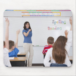 Teacher with students mouse pad
