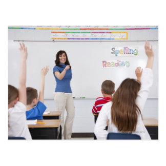 Teacher with students postcard