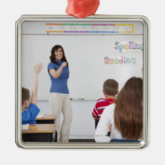 Teacher with students Silver-Colored square decoration