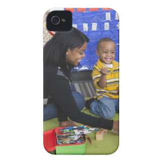 Teacher with toddler in daycare iPhone 4 case