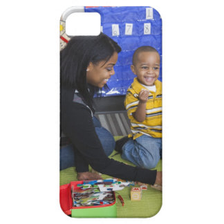 Teacher with toddler in daycare iPhone 5 cases