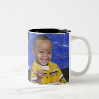 Teacher with toddler in daycare Two-Tone mug