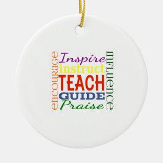 Teacher Word Picture Teachers School Kids Round Ceramic Decoration