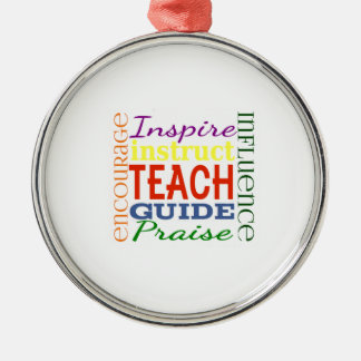 Teacher Word Picture Teachers School Kids Silver-Colored Round Decoration