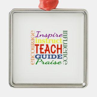 Teacher Word Picture Teachers School Kids Silver-Colored Square Decoration