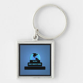 Teacher World's Greatest Award Blue Custom Key Silver-Colored Square Key Ring