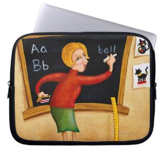 Teacher writing on blackboard and talking laptop sleeve