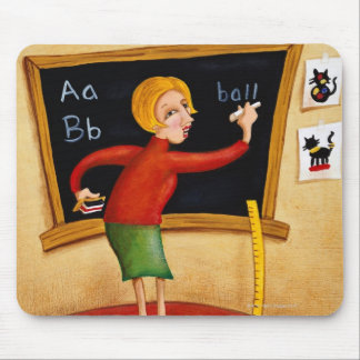 Teacher writing on blackboard and talking mousepads