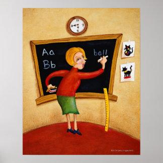 Teacher writing on blackboard and talking poster