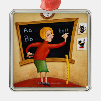 Teacher writing on blackboard and talking Silver-Colored square decoration