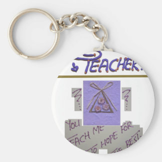 Teacher You Teach Me To Hope for the Best.png Basic Round Button Key Ring