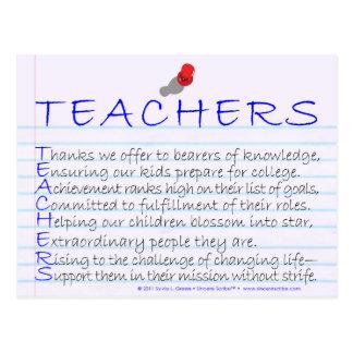 Teachers (Acrostic) Postcard