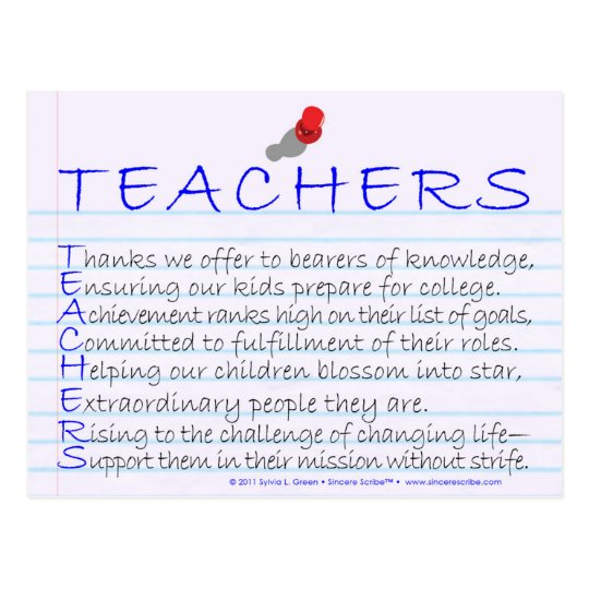 Teachers (Acrostic) Postcard