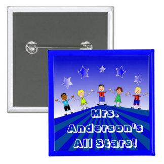 Teacher's All Star Kids Custom Button Pin
