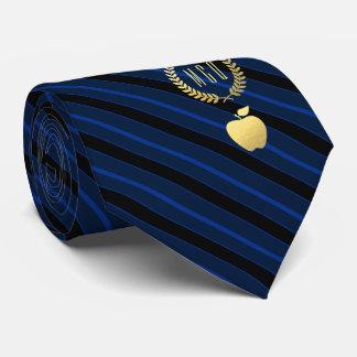 Teacher's Apple Monogram Deep Blue Striped Tie