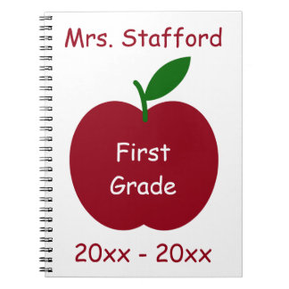 Teacher's Apple on White Personalized Notebook