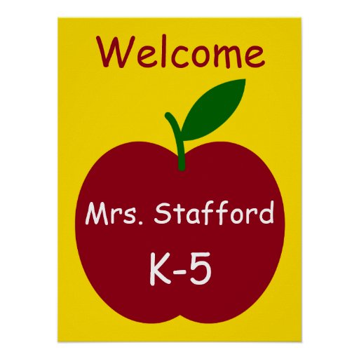 Teacher's Apple Personalised Welcome Poster