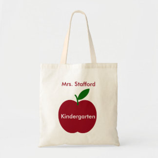 Teacher's Apple Red and Green Personalized Tote Bag