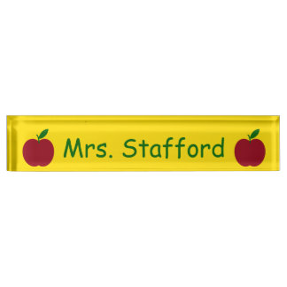 Teacher's Apple Red Green Yellow Personalized Nameplate