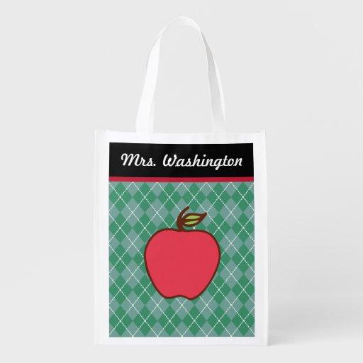 Teacher's Apple Reusable Grocery Bag