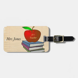 Teacher's Apple Stack of Books Customize Luggage Tag