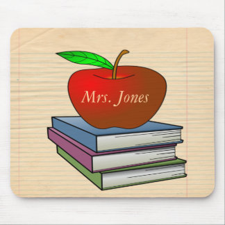Teacher's Apple Stack of Books Customize Mouse Mat