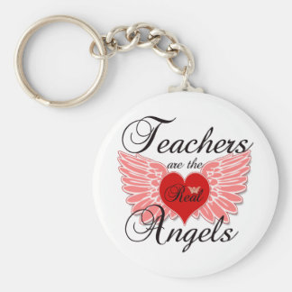 Teachers Are The Real Angels Basic Round Button Key Ring