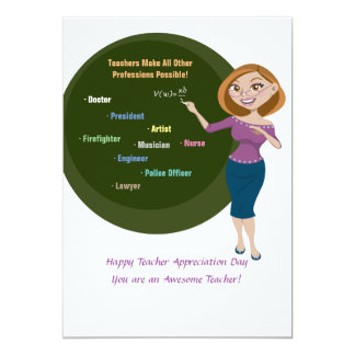 Teachers Are Wonderful 13 Cm X 18 Cm Invitation Card