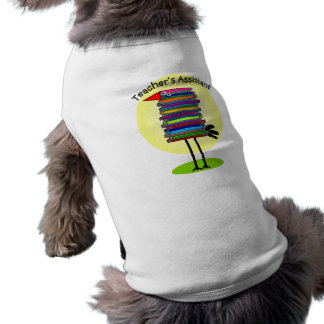 "Teacher's Assistant ""Book Bird"" Design Sleeveless Dog Shirt"