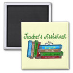"""Teacher's Assistant Gifts """"Stack of Books"""" Square Magnet"""