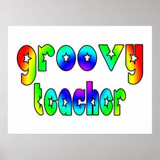 Teachers Birthday Christmas Parties Groovy Teacher Print