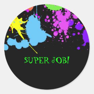Teachers, Birthday, Faux Neon, Custom Classic Round Sticker