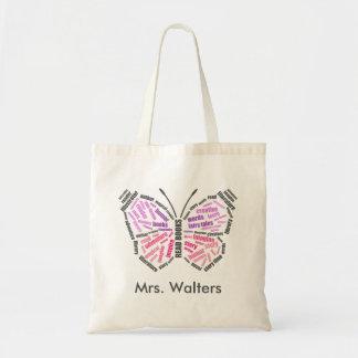 Teacher's Butterfly Word Art Tote Bag