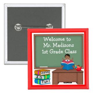 Teacher's Chalk Board Ethnic Male Square Button